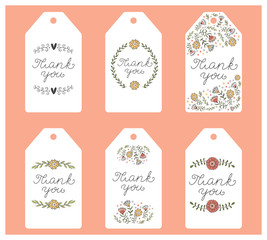 Set of six labels. Tags with hand written  thank you note. Vector.