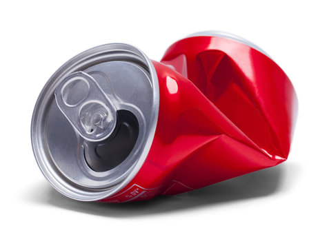 Red Crushed Soda Can