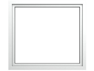 3D render of a window on a white background, the glass on a white background, window with white frame