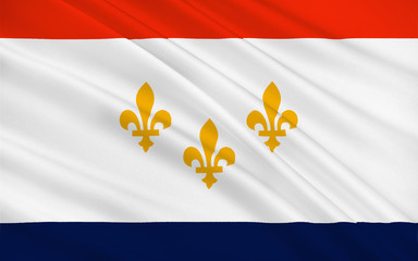 Flag of New Orleans in Louisiana, USA