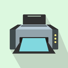 Grey printer icon in flat style