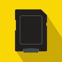 Micro sd card icon, flat style