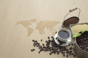 Abstract background, Coffee Set on earth map Coffee painting