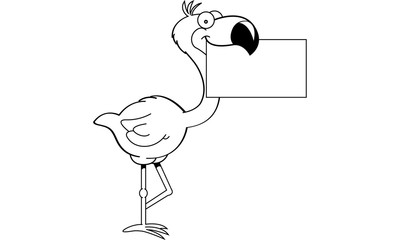 Black and white illustration of a flamingo holding a sign.