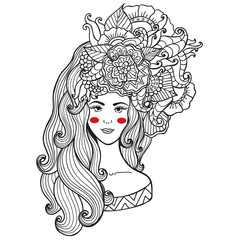 Vector illustration  card  beauty and fashion. Girl with flowers on her head. Zentangl, dudling. Adult coloring books.