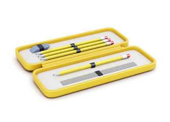 Pencil case with pencils, eraser and a ruler on a white background. 3d rendering.