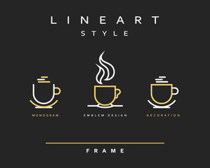 Icon cups . Emblem line art design. Elegant brochure for restaurant and coffee. Design menu