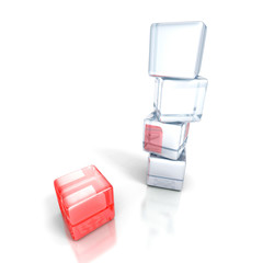 different red cube out from white tower stack. business concept