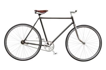 Vintage custom singlespeed bicycle isolated on white background