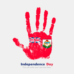 Handprint with the Bermuda flag in grunge style