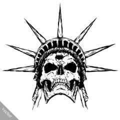 black and white engrave evil vector skull face