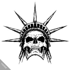 black and white engrave evil vector skull face