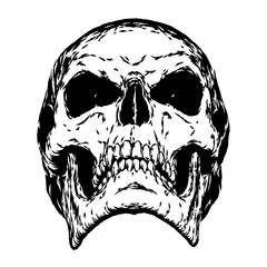 black and white engrave evil skull face