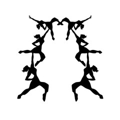 Isolated dancing girls silhouettes illustration. Isolated sport dancing girls silhouettes pattern illustration.