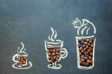 drawn with chalk cup of coffee with coffee beans