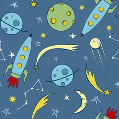 Space theme seamless pattern