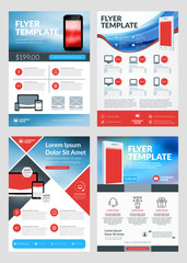 Set of Business Flyer Design Templates for Mobile Application or New Smartphone. Vector Brochure Design Layout Template. Red and Blue Colors