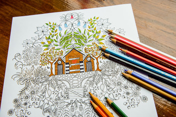 Anti-stress coloring book in the drawing process