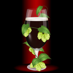 Glass of dark beer wrapped hops. Realistic vector illustration