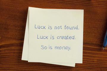 Luck is found handwritten on a note
