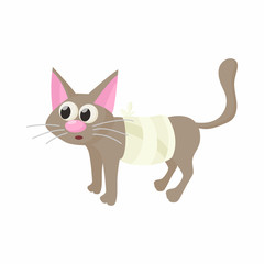 Cat with an injury icon, cartoon style