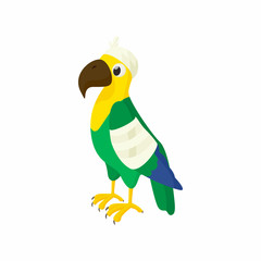 Sick parrot icon, cartoon style