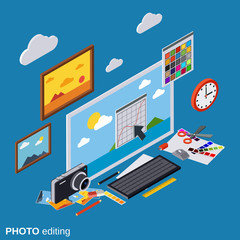 Photo editing, production, montage, retouch vector illustration