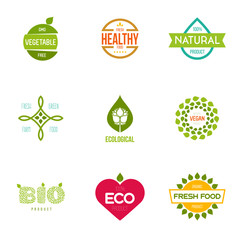 Graphic elements editable for design with fresh, nature, organic products.