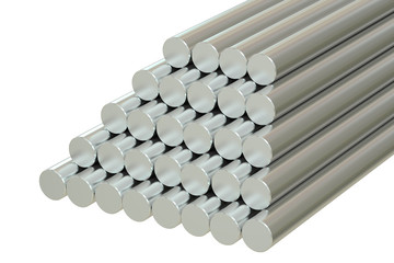 Steel Round Bars, 3D rendering