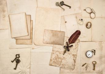 Vintage letters handwritten postcards Paper Flat lay