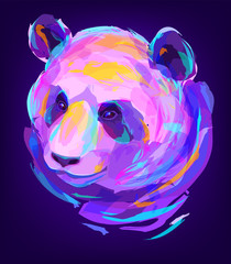 The cute colored panda head