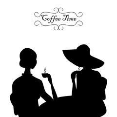 Lady's coffee time. On the picture silhouettes of two women are represented during coffee time in black-and-white tones