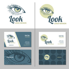 Wall Mural - Business card with woman eye logo. Vector template
