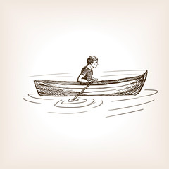 Man in boat sketch style vector illustration
