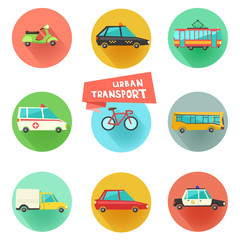 Transport flat vector icons on circular backgrounds. 9 colorful urban city vehicles including tram, ambulance, taxi cab, police car.