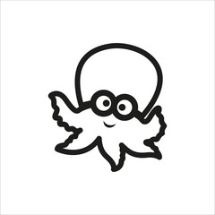Cartoon illustration of octopus in simple monochrome style icon on white background