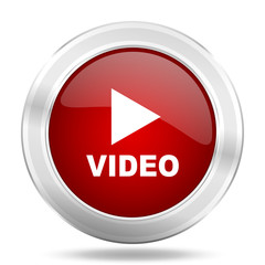video icon, red round glossy metallic button, web and mobile app design illustration