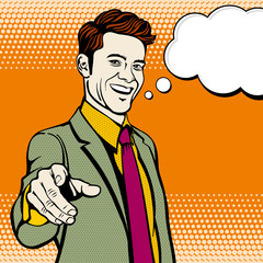 Businessman with hand pointing finger. Vector business concept in pop art style