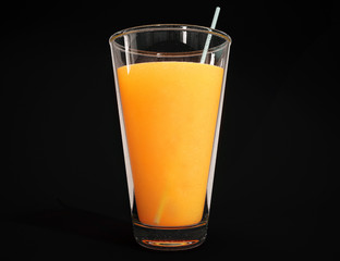 Fresh organic orange juice in a tall glass isolated  on a black background. 3d rendering