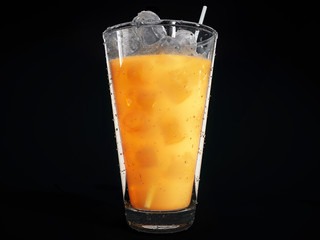 Cocktail with fresh organic orange juice and ice cubes in a tall glass isolated  on a black background. 3d rendering
