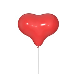 Balloon in form of heart isolated on white background.