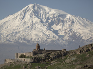 The best view on Hor Virap Monastery with Ararat Mount in background. Armenia.