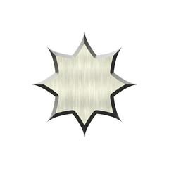 Metal badge in form of circle.