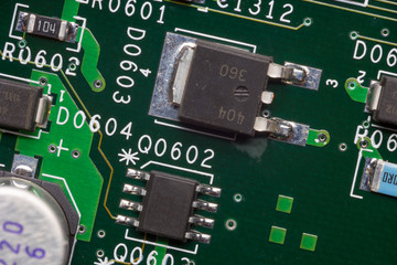 Close up of an electronic circuit board.