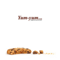 Closeup partially eaten cookie. Yum yum text