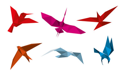 Wall Mural - Vector origami birds