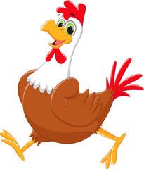 cute rooster cartoon walking