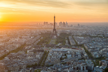 Aerial view of Paris skyline at sunset, France