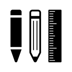 pen pencil ruler icon on white background