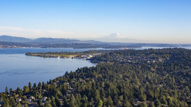 Aerial Shot of Forests, Lake, and Suburban Neighborhoods of Shoreline, Sand Point, North Seattle, Magnuson Park, Lake Washington, and Mt Rainier